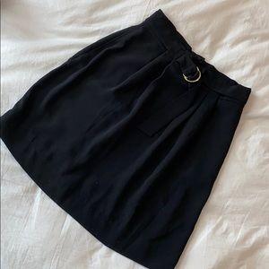 H&M Black Belted Paper Bag Skirt - Sz 6